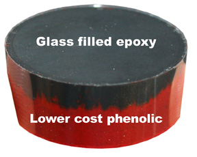 Phenolic and glass-filled epoxy for cost reduction of metallographic mounts