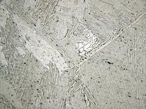 Metallographic micrograph of cast titanium