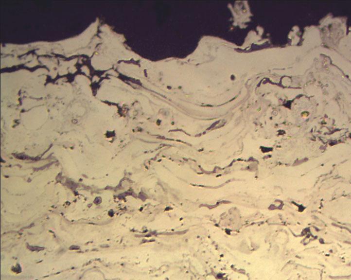 Metallographic micrograph of Nickel-Aluminum plasma spray coating