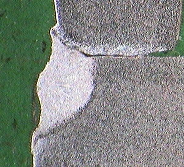 Metallographic micrograph of ferrite and pearlite