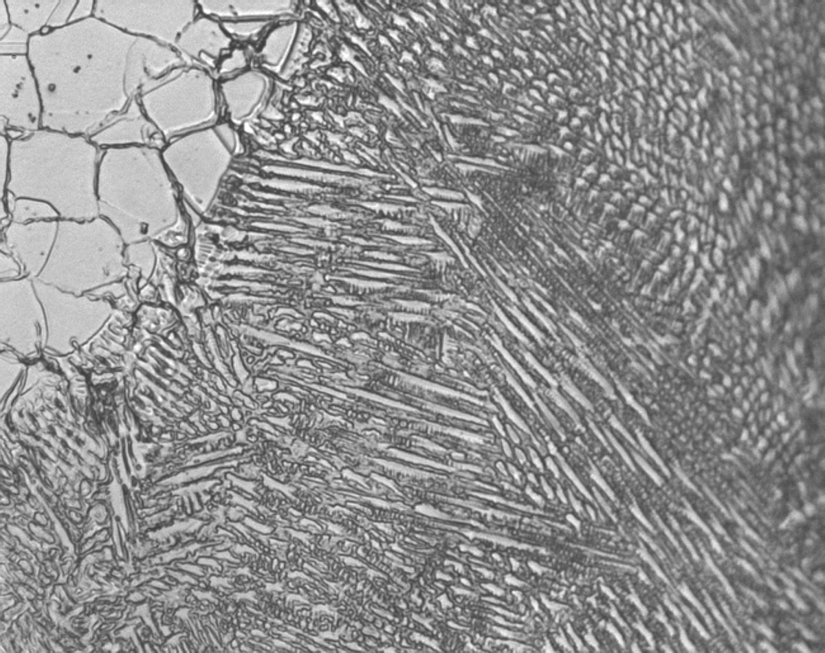 Metallographic micrograph of Inconnel Weld